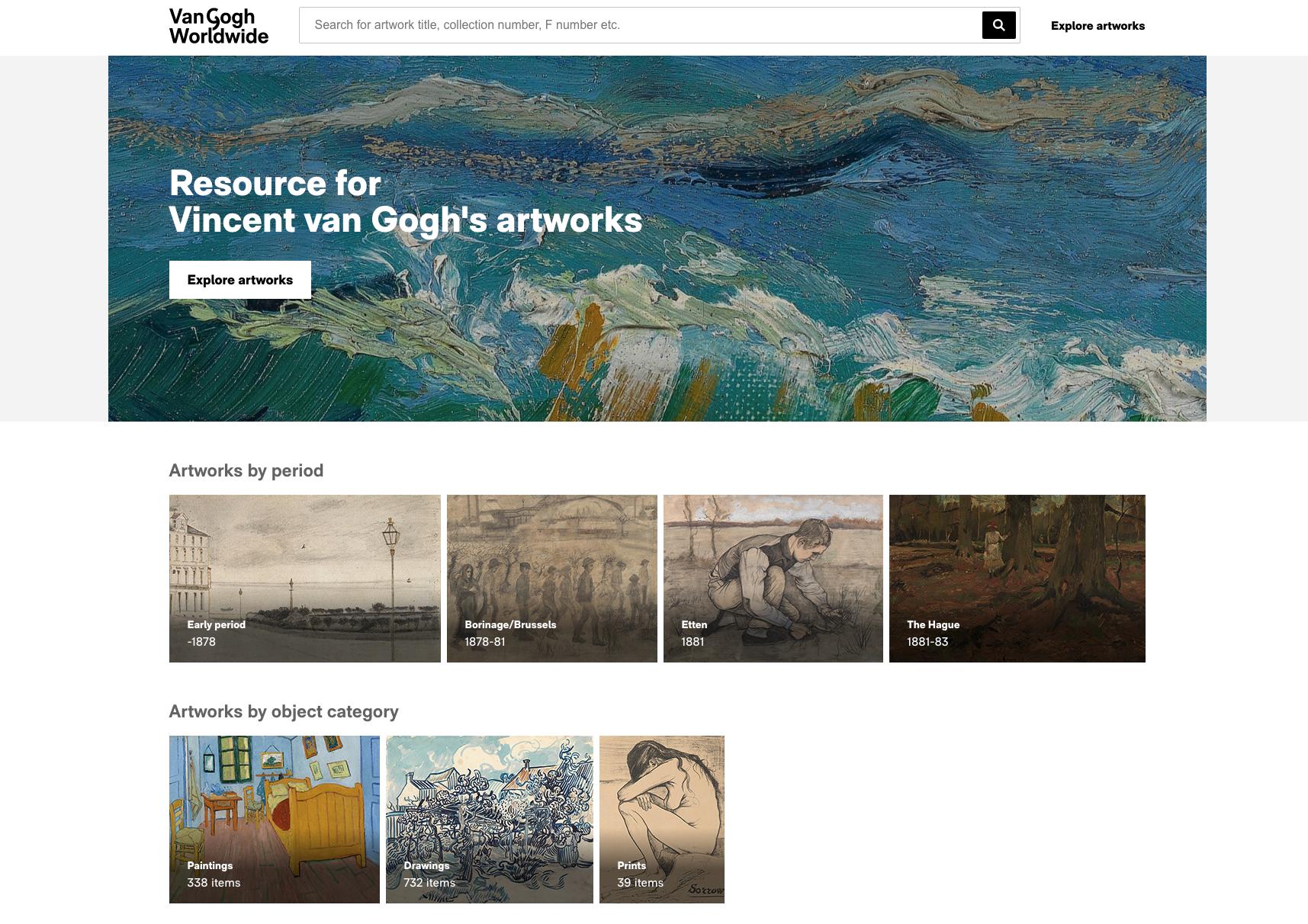 Homepage van Van Gogh Worldwide