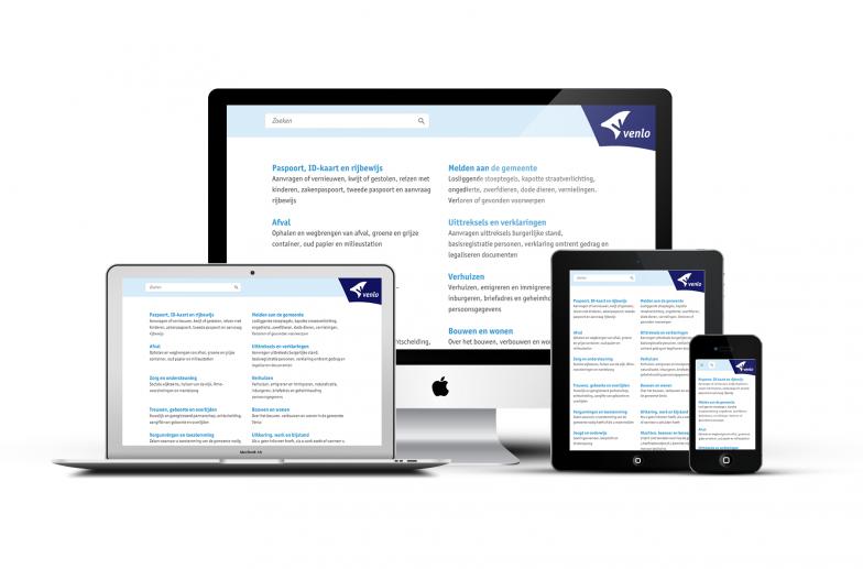 De nieuwe venlo.nl website te zien op 3 verschillende devices