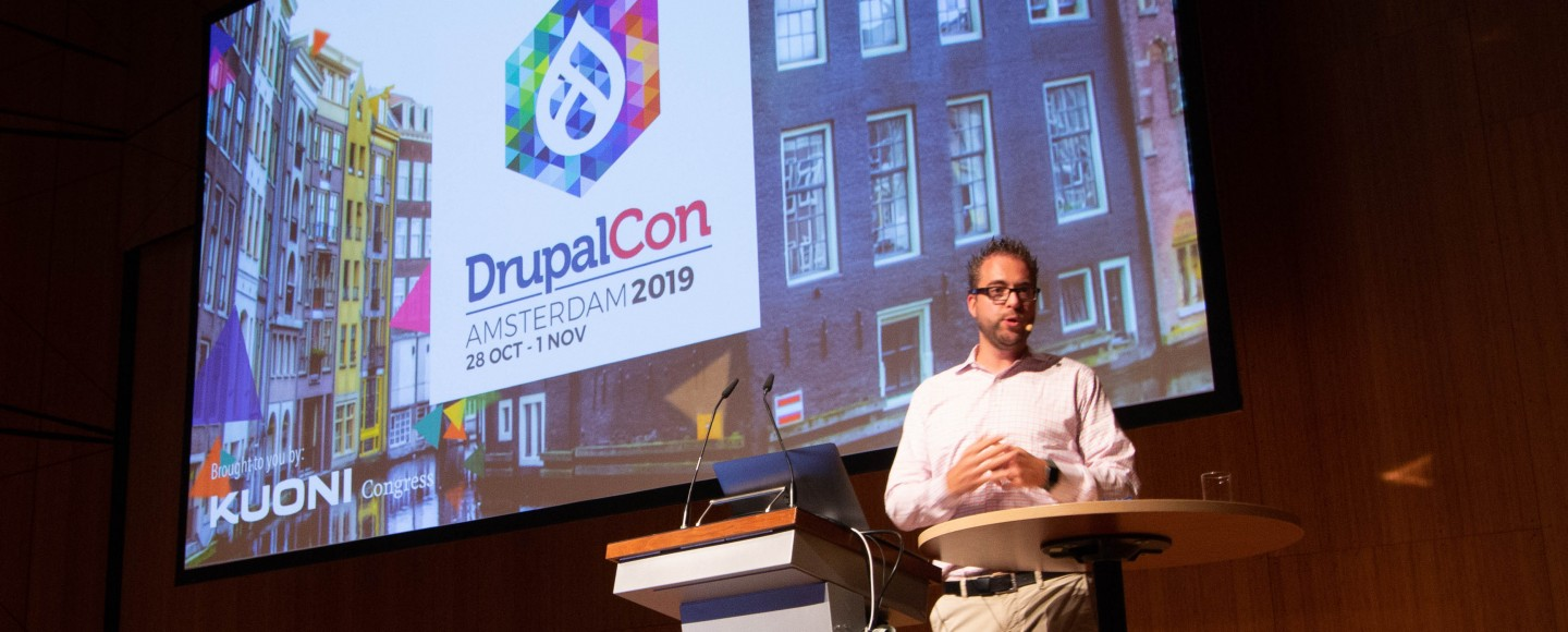 Dries Buytaert presenteert over DrupalCon 2019 Amsterdam